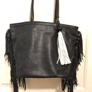 Sam Edelman Weston Tote W/Fringe Black Handbag